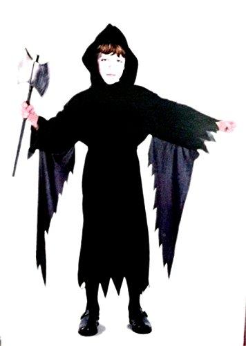 7 Jahre - Kostüm Verkleidung Karneval und Halloween von Dämon Schwarz mit HAUBE Tod Teufel männliches Kind (Dämon Halloween Kostüme)