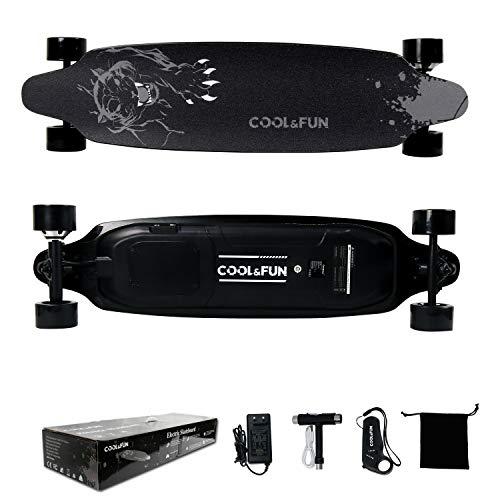 Longboard Skateboard Électrique avec télécommande, Planche Design à roulettes 4 Roues, Batterie LG 800W, Noir