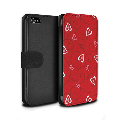 Stuff4 Coque/Etui/Housse Cuir PU Case/Cover pour Apple iPhone 4/4S / Rouge/Rose Design / Coeur Vigne Motif Collection Rouge/Rose