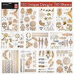 ARTEZA Temporäre Tattoos | 10 Tattoobögen mit Henna Körpertattoos | Klebe-Tattoos in Gold und Silber | 110 Einzigartige Designs | Temporäre Tätowierung für Body Art