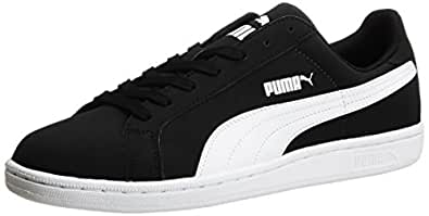 Puma Unisex Smash Nubuck Black and White Sneakers (8 UK/India) (35675302)
