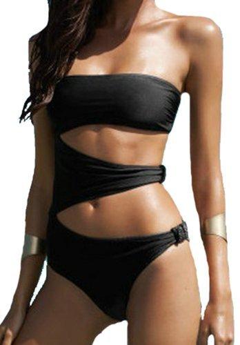 XIAOLI - Trikini liso para mujer, negro Schwarz - Schwarz Medium
