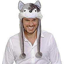 Gorra de perro salvaje Gorro de lobo peluche gris y blanco Casco de perrito Sombrero de invierno Cachucha de animal Complemento para la cabeza con borlas