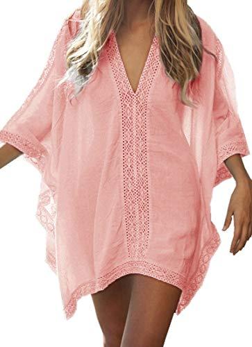 Walant Robe de Plage pour Femmes V-Cou Bikini Cache-Maillots Taille Unique Coton mélangé Dentelle Chemise Robe Kimono Cover Up Maillots de Bain, Rose Orange