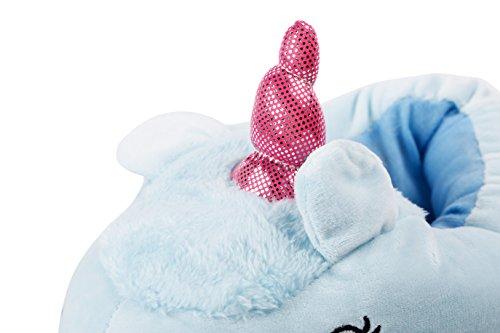 YUWELL Kuschelige Plüsch Einhorn Hausschuhe Plush Unicorn Slippers Cartoon Costume Design für Damen Erwachsene Halloween Blau