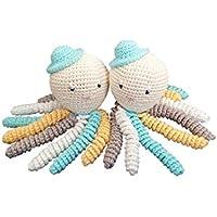 Pareja de pulpos amigurumi en color aguamarina, gris, blanco y amarillo. Pulpos de ganchillo - crochet ideales como regalo para bebés y recién nacidos.