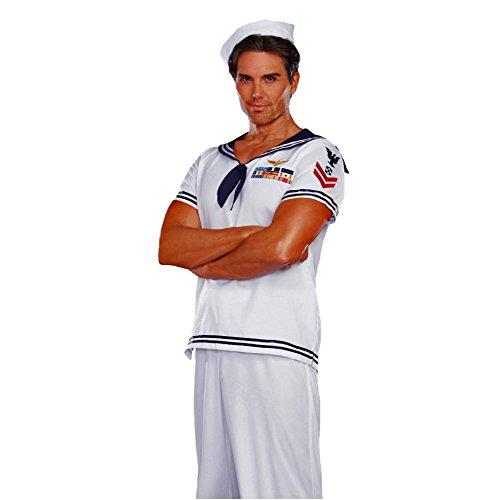 Dreamgirl Kostüm Matrose Nicolas, Gr. XXL, T-Shirt Mütze weiß Fasching Seefahrer