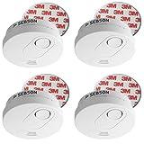 SEBSON 10 Jahres Rauchwarnmelder inkl. Magnethalterung, DIN EN 14604, VdS 3131, Q-zertifiziert, fotoelektrischer Rauchmelder, SEBSON Rauchwarnmelder inkl. Magnethalter, 10 Jahres Langzeit Batterie, Rauchmelder DIN EN 14604 VdS 3131, Stummschaltung, GS526 q zertifiziert 4er Pack