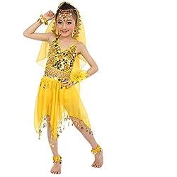 LUBITY Robe Enfant Fille Mini Jupe Danse du Ventre Costume Enfants Filles Carnaval Paillettes Ensemble Set Enfant Danse Orientale Costume (Hors Voile Et Accessoires)