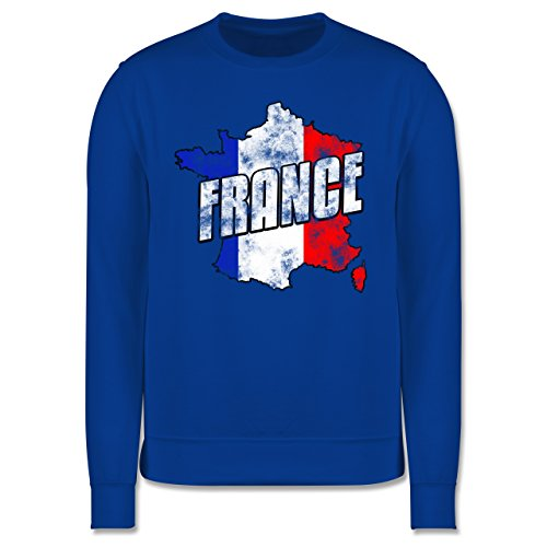 EM 2016 - Frankreich - France Umriss Vintage - Herren Premium Pullover Royalblau