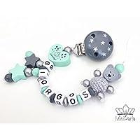 Schnullerkette mit Namen - Bär mit Häkelperle - Schutzengel - Sterne -Junge - blau - grau - mint - C034