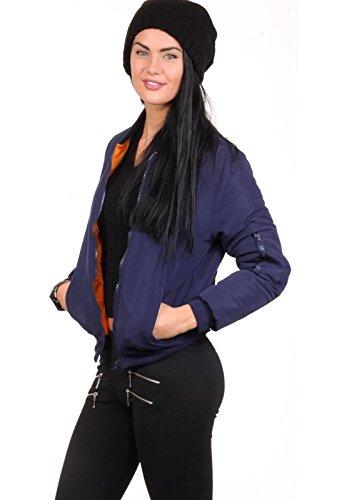 Bomberjacke Damen Pilotenjacke Retro Fliegerjacke Daunenjacke Jacke - Schwarz Khaki Navy Blau Pink Rosa - Army Gesteppt Orange Innenfutter Loomiloo Dunkelblau