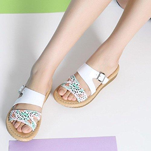 ZHANGRONG-- Pantoufles en cuir frais en été Impression de pantoufles en métal à la mode Chaussons inférieurs épais (2 couleurs en option) (taille en option) ( Couleur : A , taille : 37 ) B