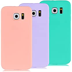 3x Funda Samsung Galaxy S6, Yokata Silicona TPU Pluma Ultra Delgado Ligero Elegante Suave Mate Carcasa Trasera Fantasía Caprichoso Kawaii Adorable Diseño Flexible Case Bumper Resistente a los Arañazos Anti Choque Anti-deslizante Soft Protectora Cover - Candy Azul, Rosa, Púrpura
