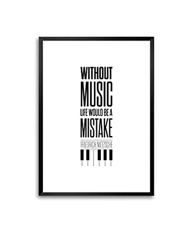 Friedrich Nietzsche Quote life music print typography Framed Poster In A3 (16.5
