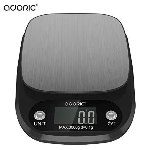 ADORIC Küchenwaage Digitalwaage Professionelle Waage Electronische Waage, Küchenwaage mit LCD Display-Wunderbare Präzision auf bis zu 0.1g(3kg Maximalgewicht)-Schwarz&Silbrig -