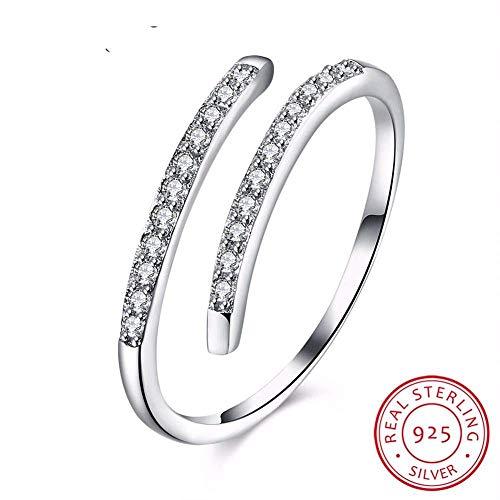 J-Z Fashionring Mode Weiß Cz Runde Zirkon Ring Ajustable Ringe 925 Sterling Silber Schmuck Vintage Hochzeit Ringe für Frauen, Ring, Einstellbar - Alle Herren Cz Ringe