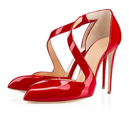 ELASHE - Femmes - Stiletto sexy - Noir et Beige et Rouge - Cuir brillant synthétique - Talon aiguille 10CM - Front étrange - Mary Janes- Bout pointu fermé Rouge