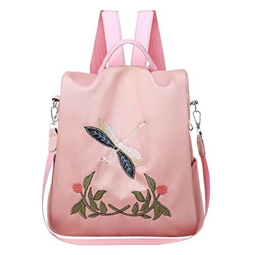Scenxion Damen Rucksack Wasserdicht Anti-Diebstahl leicht PU Mode Leder Nylon Schul-Schultertasche Reise Süß Rucksack für Mädchen Damen Stickerei Blumen Rucksack, Pink - rose - Größe: Einheitsgröße