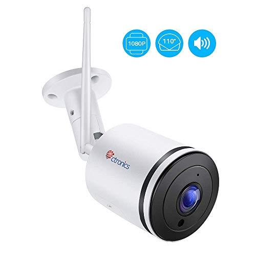 Ctronics Überwachungskamera Aussen WLAN, IP Kamera Outdoor wifi HD 1080P mit 110 ° Weitwinkel, Zwei-Wege-Audio, 30m IR-Nachtsicht, Bewegungserkennung, IP65 Wasserdicht,Fernzugriff