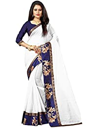 New Designer Saree Shop Women's White Colour Chanderi Cotton Saree With Unstitched Blouse Piece