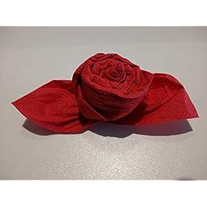 Servietten Rosen in rot,12 er Set, fertig gefaltet zur Hochzeit, Geburtstag, Taufe, Kommunion, Muttertag als Mitbringsel und zu allen besonderen Anlässen