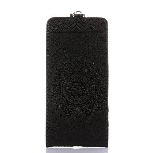 Étui en cuir PU pour Sony Xperia Z3,Vertical Pliable Rabat Shell pour Sony Xperia Z3,Sony Xperia Z3 Flip Cover,Ekakashop Etui avec Motif de Bleu Mandala Retro Tendance Style Portable Coque de Protecti Noir