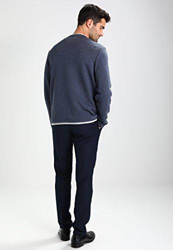 Pier One Sweatshirt Herren mit Rundhalssusschnitt aus 60% Baumwolle - normale Passform & Länge ca. 68cm - Sweater Pullover mit extralangem Arm Dunkelblau Meliert