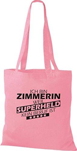 Shirtstown Stoffbeutel Ich bin Zimmerin, weil Superheld kein Beruf ist rosa