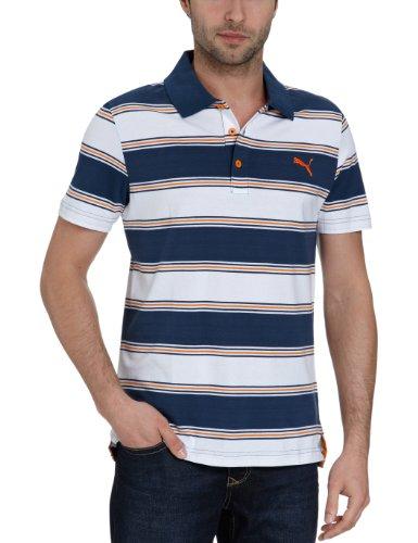 Puma Herren Polo Shirt Striped, Dark Denim-Vibrant orange, XL, 819248 22