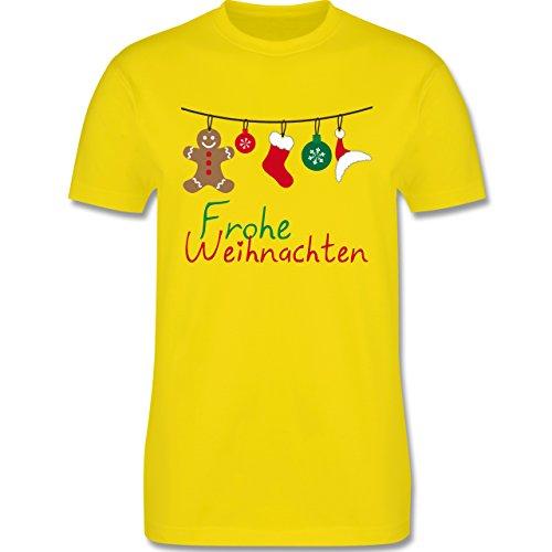 Weihnachten & Silvester - Frohe Weihnachten Girlande - Herren Premium T-Shirt Lemon Gelb