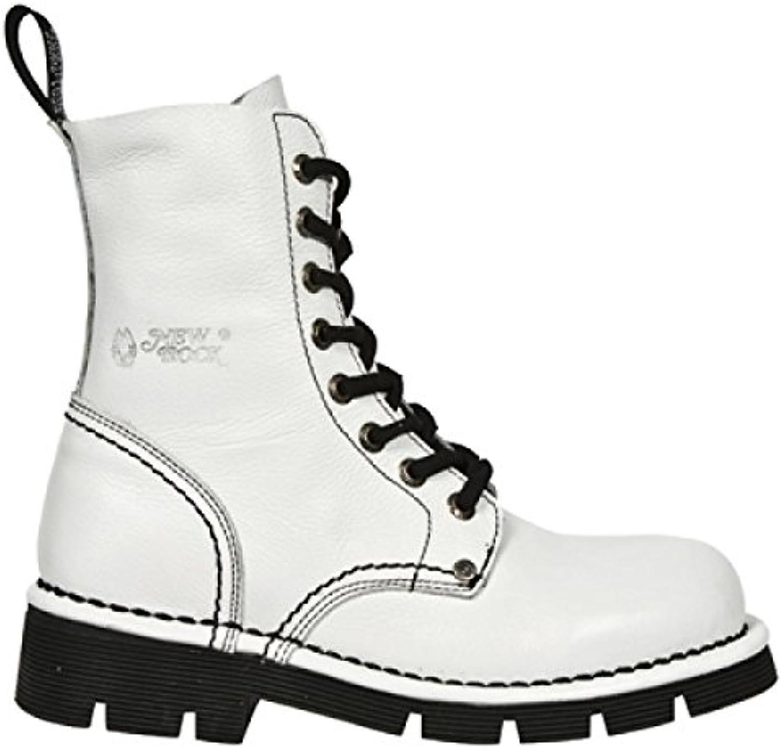 New Rock Boots M.NEWMILI084-S6 Gothic Hardrock Punk Damen Schnürstiefel Weiß