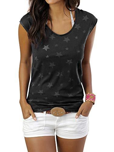 Uniquestyle Damen Sommer T-Shirt Kurzarmshirt mit Sternen Druck Rundhals Lässige Stretch Bluse Tops Oberteil Shirts Schwarz XL