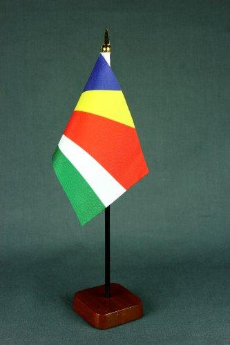 Buddel-Bini Kleine Tischflagge Seychellen 15x10 cm mit Tischflaggenständer 30 cm aus Holz, sehr standfest