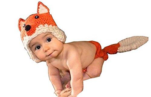 Baby Super Kostüm Windel - Jastore ® Infant baby Fotografie Kostüm süss Fuchs Hut Set handgefertigte Häkelarbeit Windel