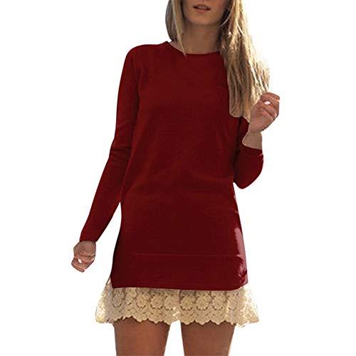 Dorical Sweatshirtkleid Damen Herbst Winter Rosa Miniklei Lange Ärmel O-Neck Spitze Patchwork Tops für Frau Hochwertige Elegante Schöne Pulli Günstige Kaufen Online Promo
