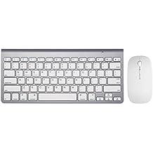 Snfgoij Inalámbrico Bluetooth Teclado Del Ratón Ordenador Delgado Mini Mecánicos Mac Jugadores Soft Material Efecto De Iluminación,White