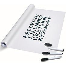 TTMOW Vinilo Pizarra Blanca Adhesiva para Escribir y Borrar (incluye 3 Rotuladores para pizarra), 43 x 200 cm, Color Blanca