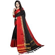 Derisory Women Cotton Silk Zari Border Saree With Blouse Piece (Black)