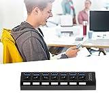 Jacobssen 7 Ports ABS USB 3.0-Hub mit On/Off-Schalter EU-Stecker Wechselstrom-Adapter + Kabel (schwarz)