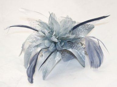 Price comparison product image Silver grey chiffon flower and feather fascinator on comb. Ideal for weddings,  races or other special occasions.
