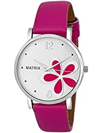 Matrix White Dial & Pink Leather Strap Analog Watch For Women/Girls- (WN-40)