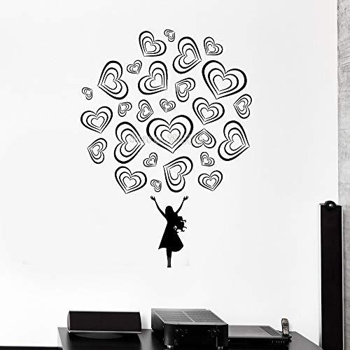 zhuziji wandtattoo Teen Girl Love Romance schöne Aufkleber Schlafzimmer dekor Vinyl DIY abnehmbare Aufkleber Moderne Kunst mura Kaffee Farbe 110x147 cm (Tattoo Piraten Pin Up Girl)