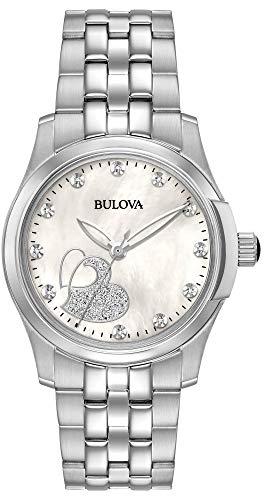 bulova orologio analogico quarzo donna con cinturino in acciaio inox 96p182