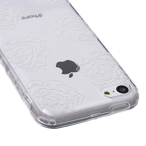 Ekakashop Coque pour Apple iphone 5c, Ultra Slim-Fit Flexible Souple Housse Etui Back Case Cas en Silicone pour iphone 5c, Soft Cristal Clair TPU Gel imprimée Couverture Bumper de Protection Extrêmeme Six Roses Flowers
