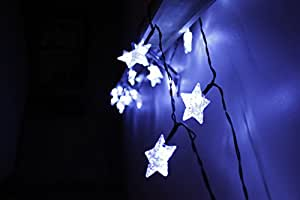 Solar LED Star String Lights - Large White Star Shaped Covers - Battery Operated Energy - Light up Holiday Christmas Tree and Outdoor - Twinkle Hanging Rope Lighting - With Garden Stake for Walkway and Patio