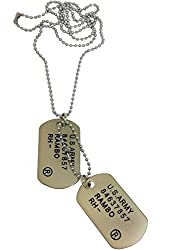 Ammvi Creations Classic Military Dog Tag Necklace with steel ball chain For Men
