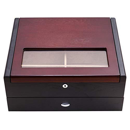Laogg Chinesische Schmuckschatulle,Massivholz-Doppelschicht-Sonnenbrille-Box Sonnenbrille Aufbewahrungsbox Holzschatulle mit Schloss,Chinesische Hochzeit Aufbewahrungsbox