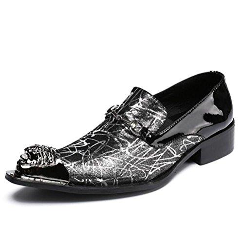 d7657f75e82bb Orfila Zapatos de hombre con patrón de cuero de metal occidental, diseño  floral, tallas 38 a 45, negro, EU44