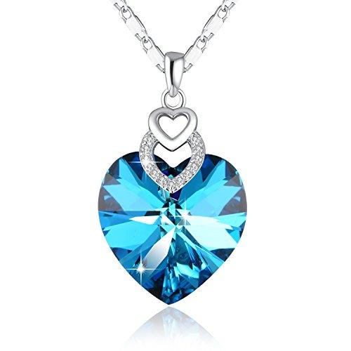 Halskette mit Herz PLATO H Damen Halskette Pariser Eiffelturm Swarovski Kristall Anhänger 46CM Extra Lange Kette Blau